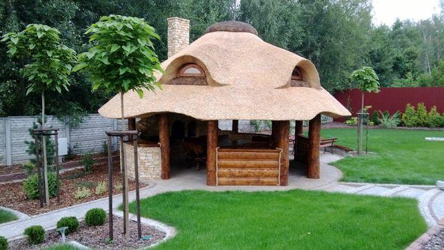 Altana strzecha kryte trzciną strzechą domki dachy meble ogrodowe