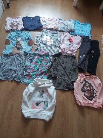 Paczka ubrań dla dziewczynki długi rękaw na wiosnę 116 konie jednorożc