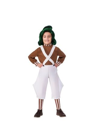 10-15 lat charlie i fabryka czekolady strój peruka Kostium Oompa Loomp