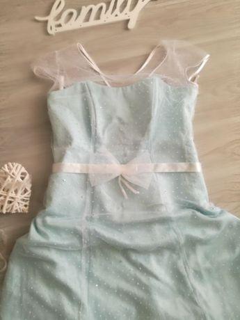 Suknia ślubna błękitna w kropeczki kropki groszki