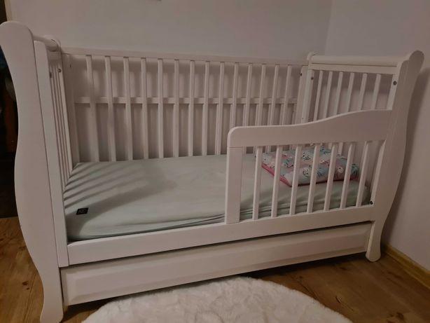 Łóżeczko białe Glamour 120x60 z materacem