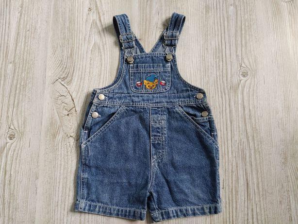 Ogrodniczki niemowlęce jeans krótkie, rozmiar 74