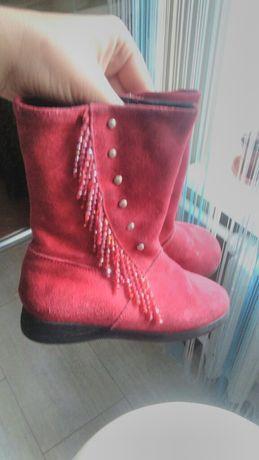 Чобітки осінні, замшеві чоботи 26 р, 16 см, червоні чобитки на весну