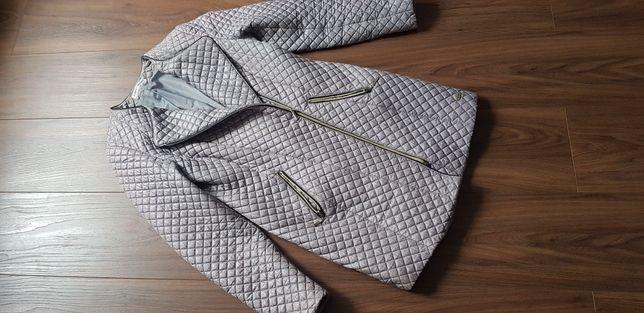 Pikowany płaszcz damski, szary/srebrny 36 S H&M Zara