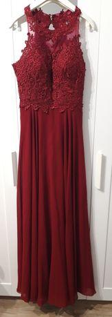 Suknia wieczorowa S 36 wesele bordowa rozporek studniówka