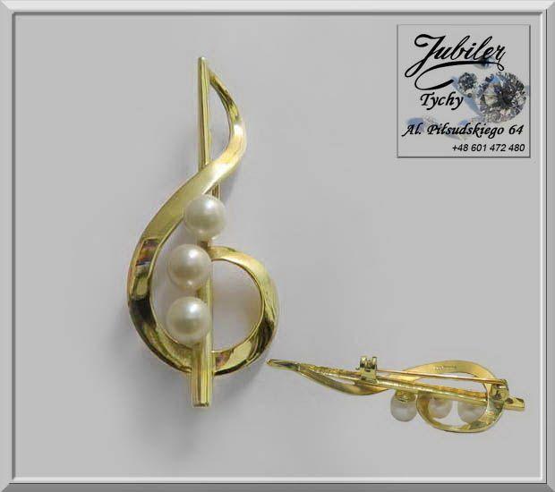 Złota Broszka z perłami w kształcie klucza wiolinowego klucz wiolinowy