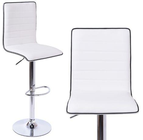 Krzesło barowe hoker BORDI biały II gatunek do wyspy do kuchni