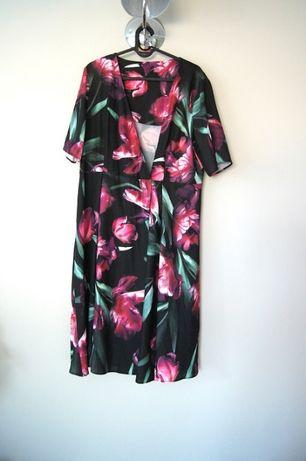 czarna kwiecista rozana zielona rozowa sukienka narzutka 44 42XXL wzor