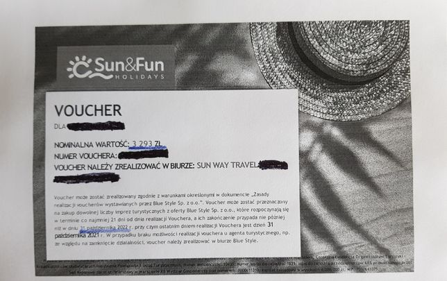 Voucher Sun&Fun Holidays wartość 3293zł