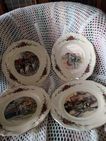 Talerze obiadowe porcelana Francja kpl 4 szt