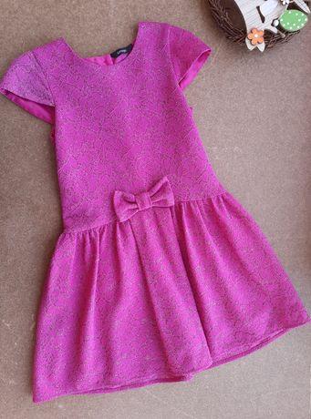 Малиновые платье в розах, с цветочным принтом 5-6 лет George