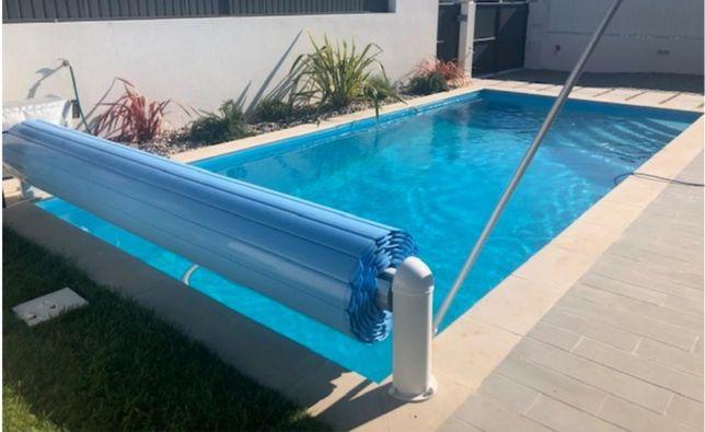Cobertura de segurança elétrica de piscina em policarbonato 3x4m