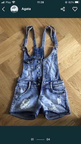 Krótkie ogrodniczki jeansowe S 36