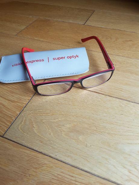 Oprawki damskie okulary czarne czerwone