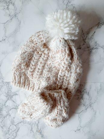 В'язаний комплект шапка та рукавиці