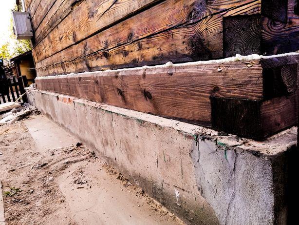 Wymiana podwalin, przyciesi / renowacja domów z drewna