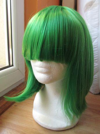 peruka do ramion zielona cosplay proste włosy green wig strój przebran