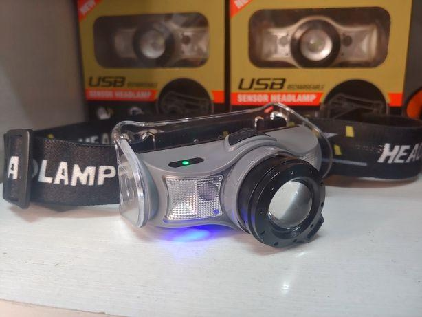 Ліхтар налобний сенсорний, акумуляторний з датчиком руху та USB