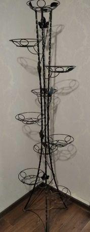 кованая подставка для цветов на 9 вазонов. металлическая стойка