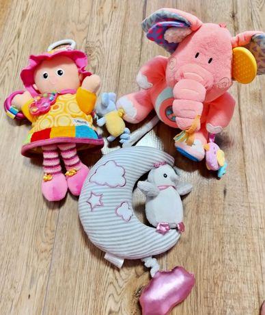 Zabawki sensoryczne, zawieszki do wózka, smyk, lalka Emilka lamaze