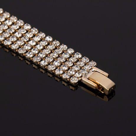 Стразы, женские, Кристальные браслет,20 см позолота
