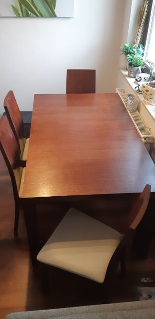 Stół Drewniany Dębowy Jadalny rozsuwany z krzesłami oraz stolik
