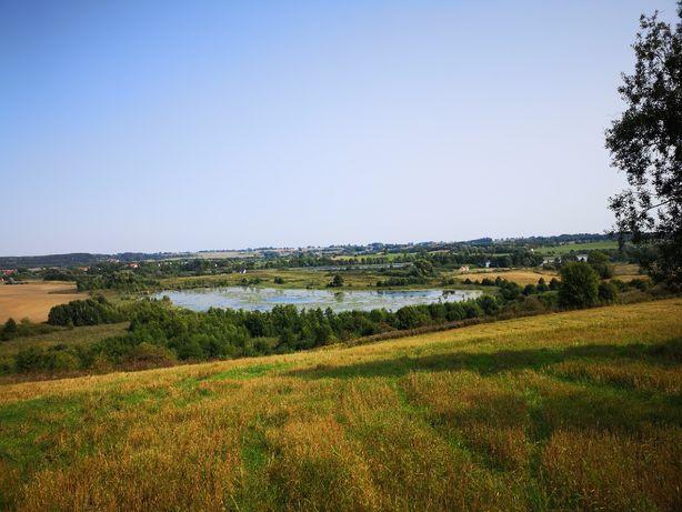 Działka z oczkiem wodnym i widokiem na jezioro Juksty i Muntynek