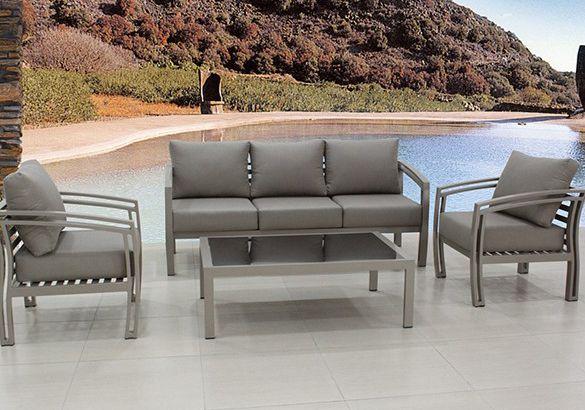 Meble ogrodowe z technorattanu kanapa fotele i stolik nowe szare