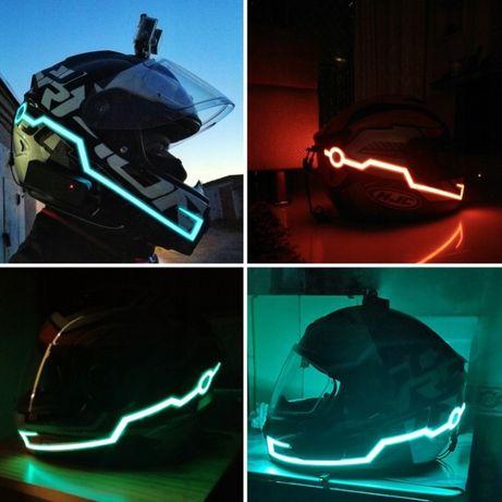 oświetlenie taśma LED na kask motocyklowy lightmode czerwony niebieski