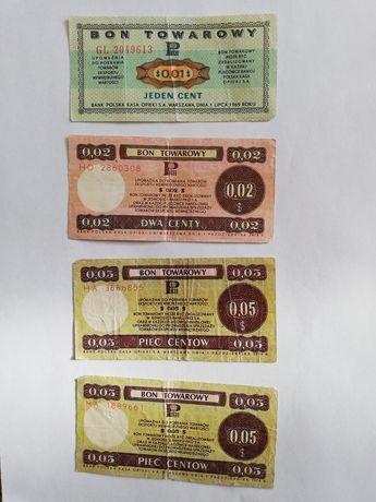 Bony towarowe z 1969 i 1979 roku 0,01$ 0, 02$ 0,05$