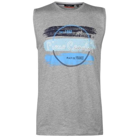 Koszulka bez rękawów Pierre Cardin Paris L szara