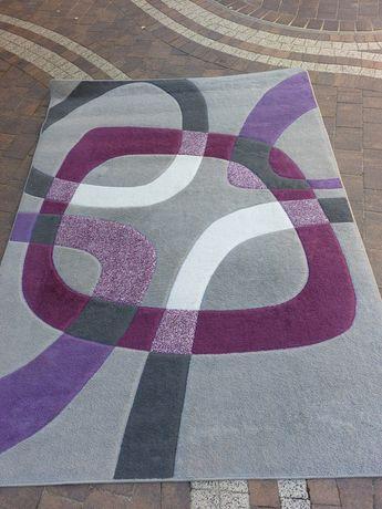 Modny dywan 160x220 szarość fiolet biały Agata Meble