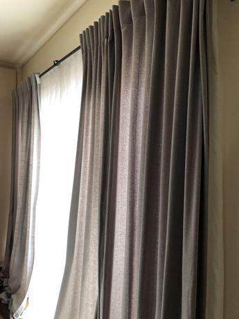 4 cortinados brancos e 4 cortinados cinzento claro