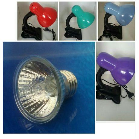 Для черепахи : светильник на прищепке + лампа ультрафиолет с обогревом