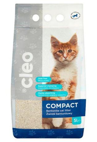 Żwirek bentonitowy naturalny niepylący dla kotów Cleo Compact 5 l