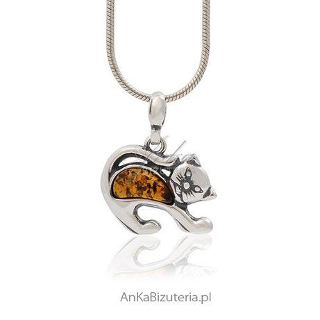 ankabizuteria.pl Biżuteria srebrna - kotek srebrny z bursztynem