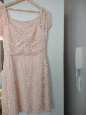 Sukienka brzoskwiniowa bodyflirt bonprix 46 duży biust j.nowa  koronka