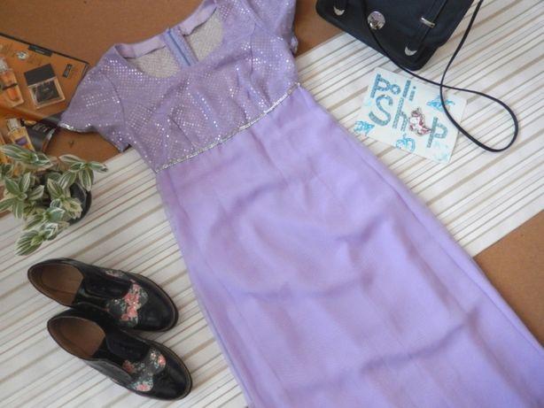 4Платье длинное макси со стразами лиловое сиреневое шифоновое с пайетк