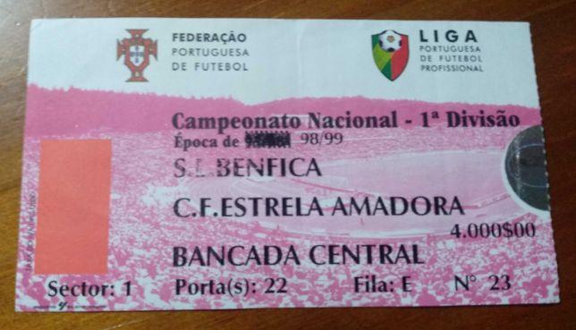 Bilhete antigo do jogo Benfica - E. Amadora