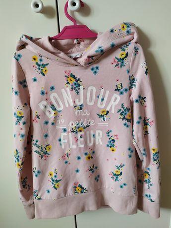 Bluza 122/128 H&M różowa w kwiaty z kapturem