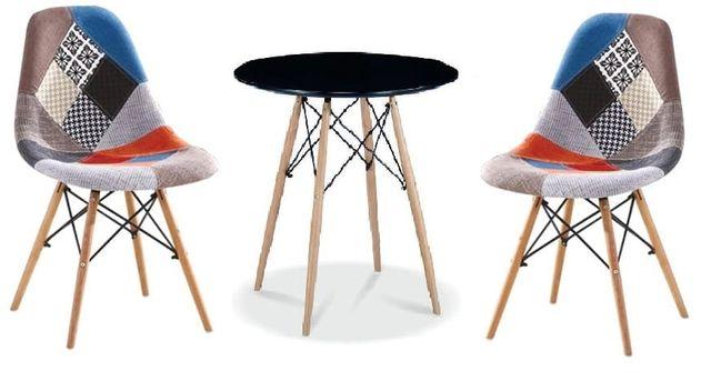 Zestaw stół okrągły czarny i 2 krzesła patchwork Simon A