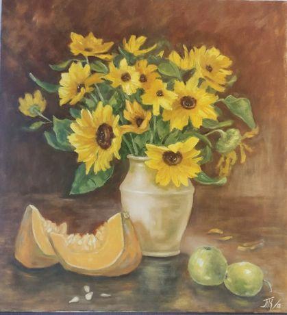 картина масло холст 60х65 натюрморт с подсолнухами, цветами