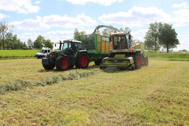 zbior trawy sieczkarnią i oraz pakowanie w rekaw oraz zbior przyczepą