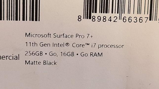 Microsoft Surface Pro 7+ i7 16gb 256gb
