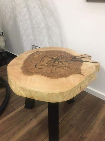 Stolik kawowy z plastra drewna LOFT