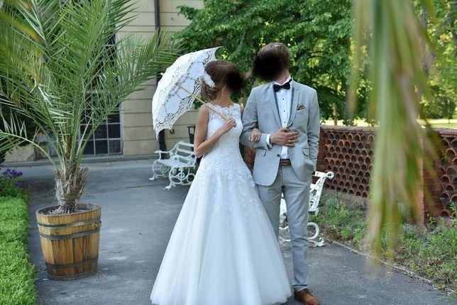 suknia ślubna,koronkowa,r.34 w literę A