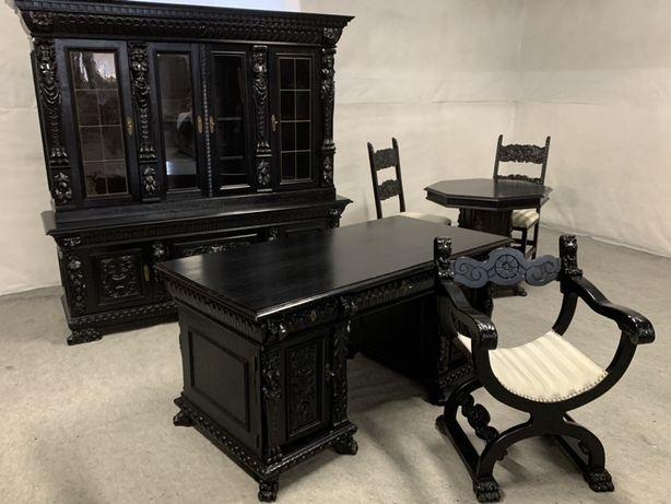 Кабинет старинный стол шкаф кресла массив Диваны для дома кожаные