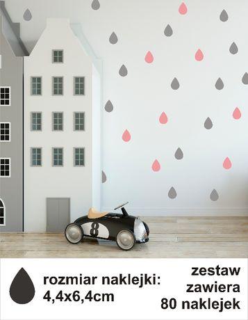 Naklejki dla dzieci na ścianę małe łezki, kropelki zestaw 80 szt