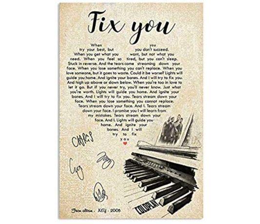 Plakat Coldplay z tekstem Fix you/ Coldplay poster with Fix you lyrics