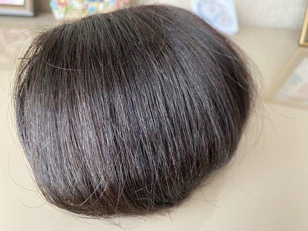 Челка накладная, натуральные волосы.